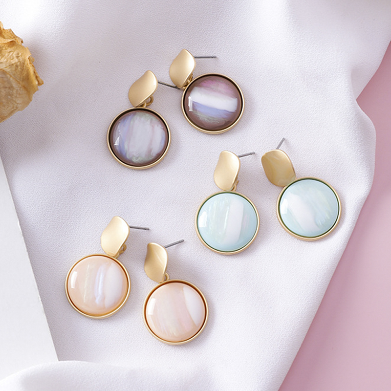 Korean Sweet Abstract Texture Fashion Drop Round Dangle Earring Wedding Geometric Jewelry Wholesale Gift For Lover Friend