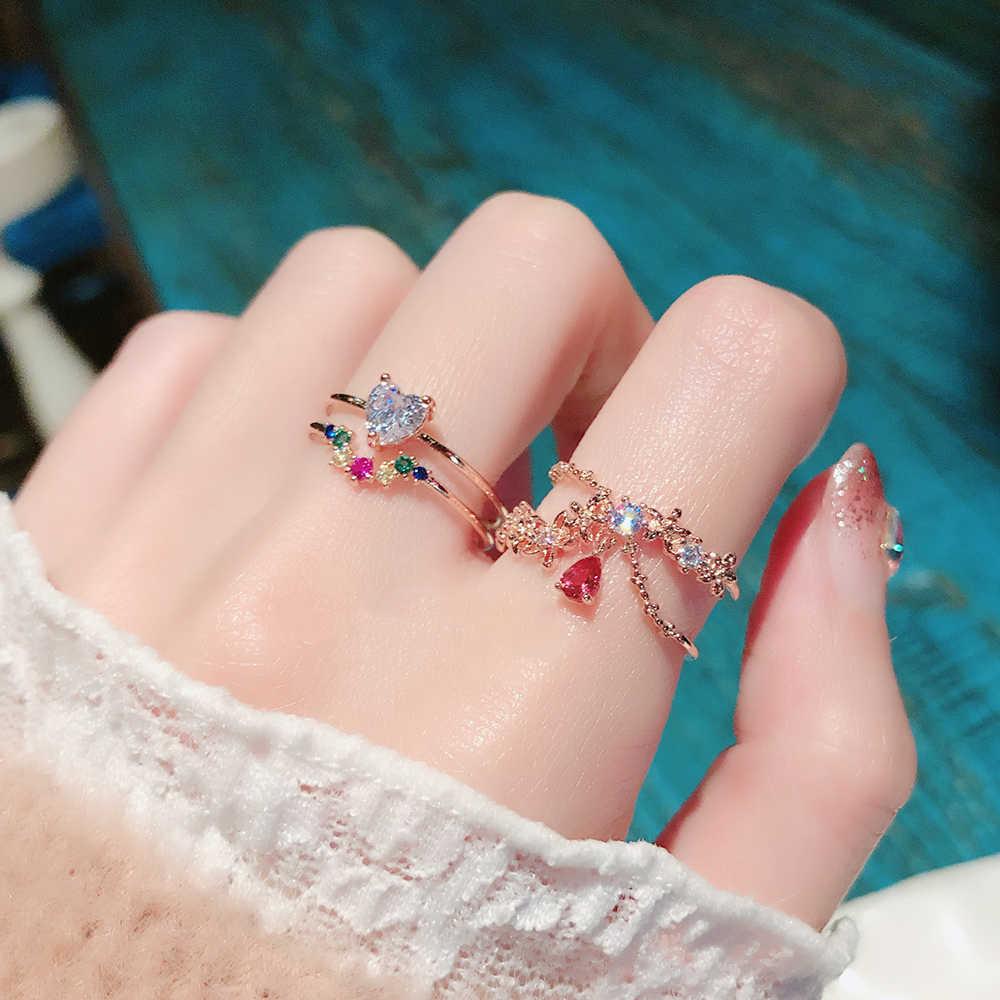 Mengjiqiao 2020 韓国スウィートハートのクリスタルフラワーキュービックジルコン女性のためのファッションかわいい蝶宝石
