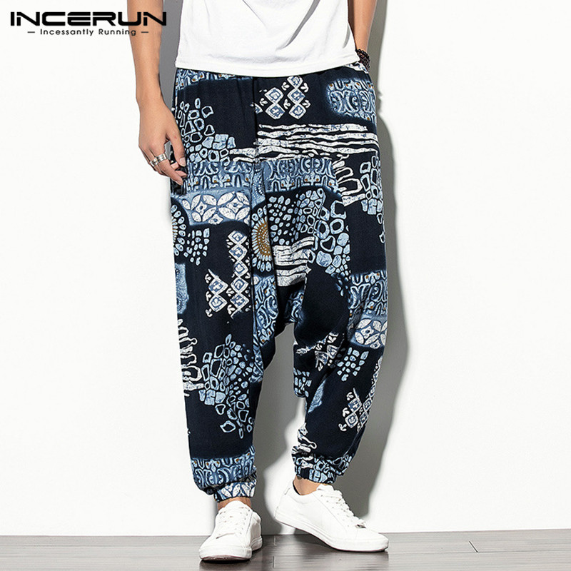 Men Printed Harem Pants Elastic Waist Retro Casual Joggers Loose Drop-crotch Trousers Men Streetwear Wide Leg Pants INCERUN 2020
