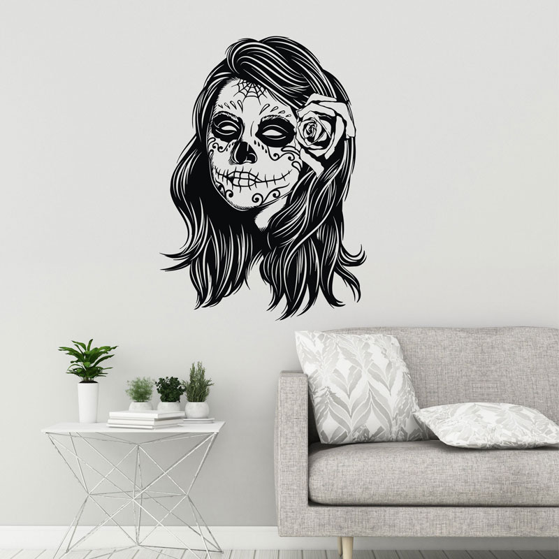 Sugar Skull Vinyl Wall Decal Zombie Girl font b Calaveras b font Makeup Day Of The