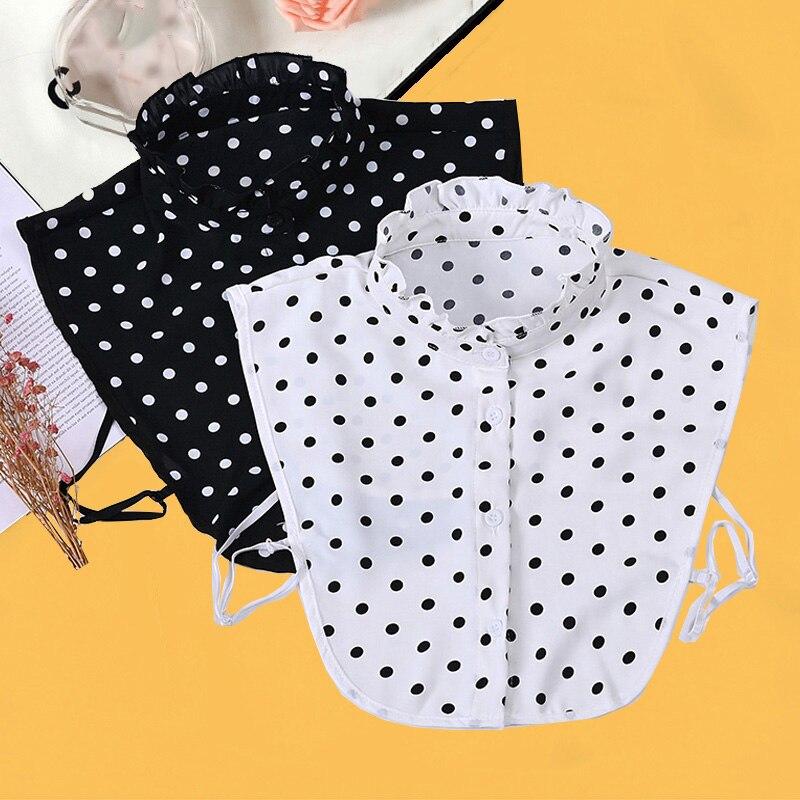 Рубашка с фальшивым воротником в горошек, женские съемные воротники, белый женский галстук, черная рубашка с фальшивым воротником