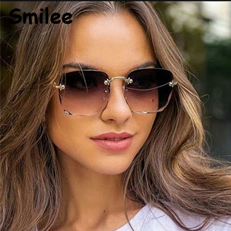 Luxus 2020 Neue Platz Sonnenbrille Vintage Gradienten Randlose sonnenbrille frauen Getönt Objektiv Mode Große Gläser Oculos UV400
