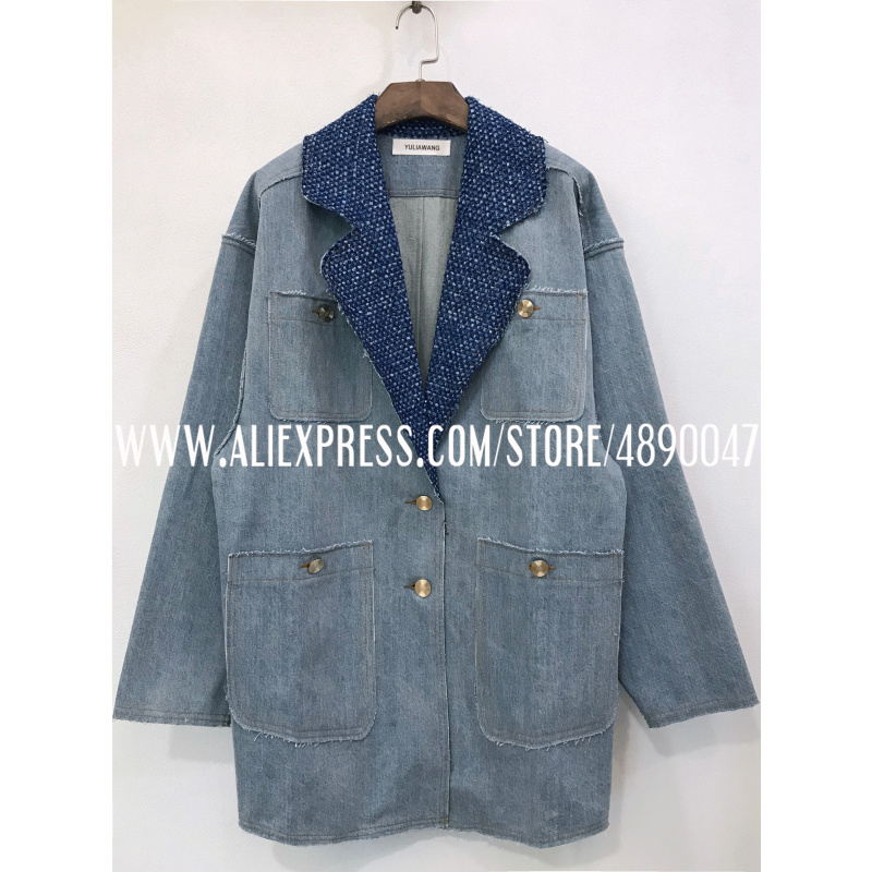 Lapel denim jacket ladies casual blue vintage jacket Women's long sleeve Loose jacket denim pocket motion jacket high quality