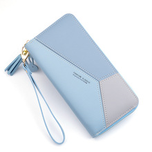 Геометрические женские кошельки на молнии, розовый карман для телефона, кошелек, держатель для карт, пэчворк, Женский Длинный кошелек, Дамский короткий кошелек с кисточками