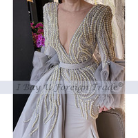Luxury Full Pearl Beaded Mermaid Wedding Dress 2021 Detachable Train Vintage Long Sleeves V Neck Plus Size Bridal Gown