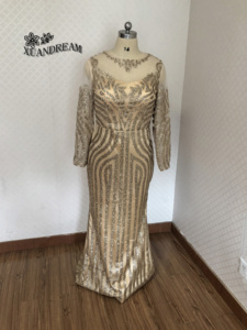 Image 4 - Formal gown for dinne party dresses abiti cerimonia vestido sereia special occasion gown long sleeve bling bling evening dresses