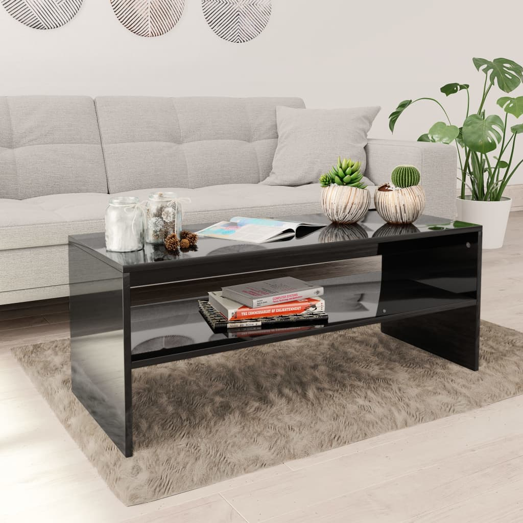 VidaXL Coffee Table High Gloss Black 100x40x40 Cm Chipboard