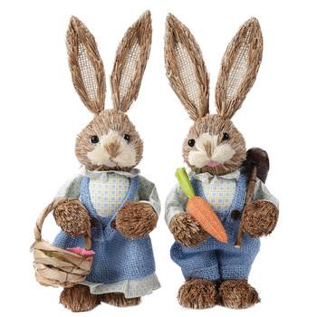Wielkanocny królik ozdoby zaopatrzenie firm sztuczny słomkowy króliczek stojący królik z marchewką dekoracja do przydomowego ogrodu zaopatrzenie firm tanie i dobre opinie CN (pochodzenie) Zwierząt Tradycyjny chiński Wikliny dropshipping