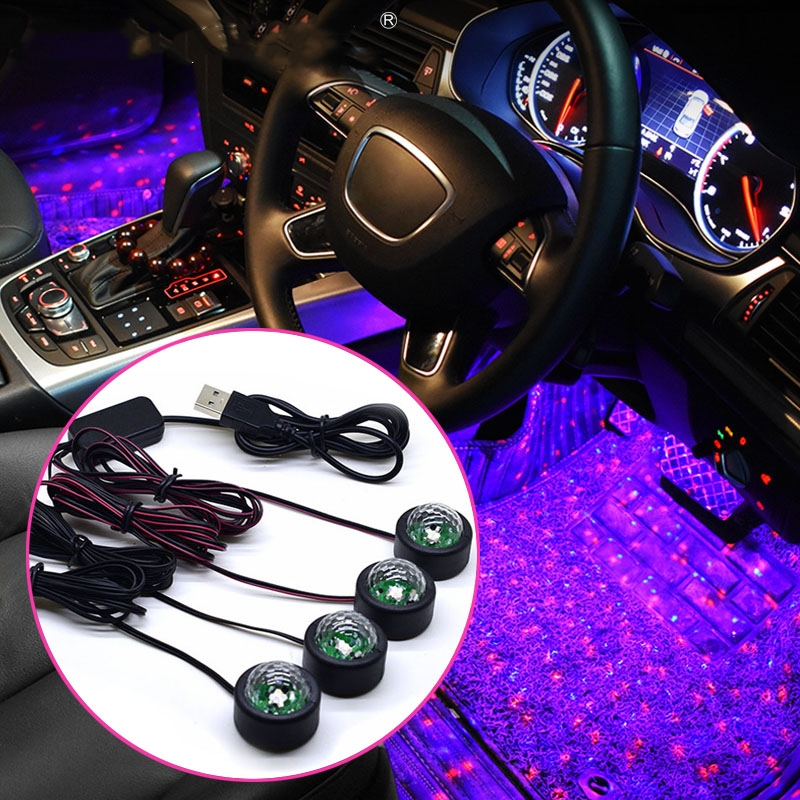 Car Foot Star Starry Light Multicolor Ambient Star Light DJ RGB Colorful Music Sound Lamp Christmas Interior Decorative Light image
