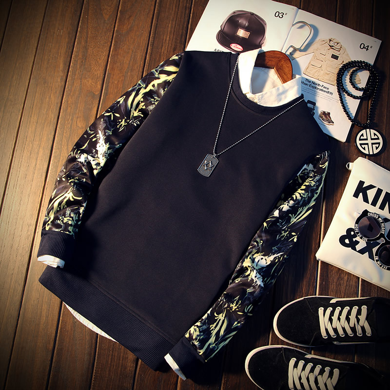 2019 Spring Autumn Fashion Brand Men Patchwork Floral Print Long Sleeve O-Neck Cool Pullover Hoodies Mens Sweatshirt Tracksuit