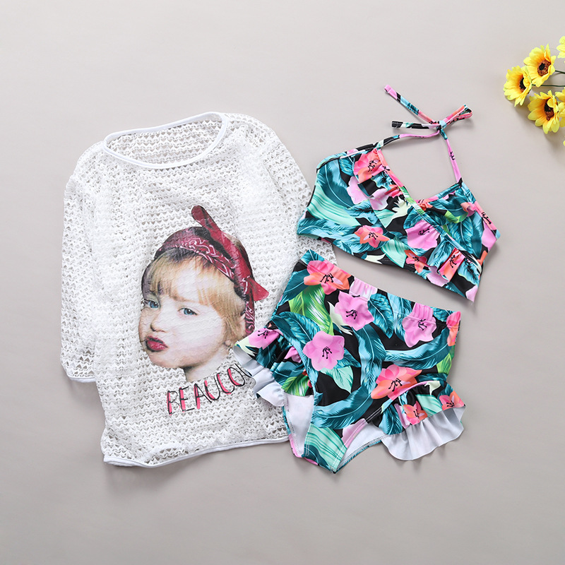 2019 South Korea GIRL'S CHILDREN'S Swimwear Big Boy Split Type Floral-Print Sun-resistant Cover-up Bikini Three-piece Set Swimwe