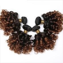 Ombre kabarık kıvırcık demetleri 1B 4 27 30 Funmi kıvırcık saç 1 3 4 demetleri gölgeli insan saçı demetleri Remy brezilyalı saç örgü demetleri