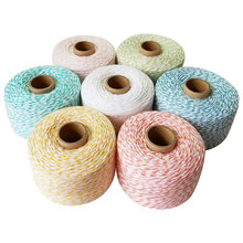 Cordons colorés 200 coton, rouleau de 100% m, pour boulangers, ficelle fine, pour décoration, paquet cadeau, bricolage