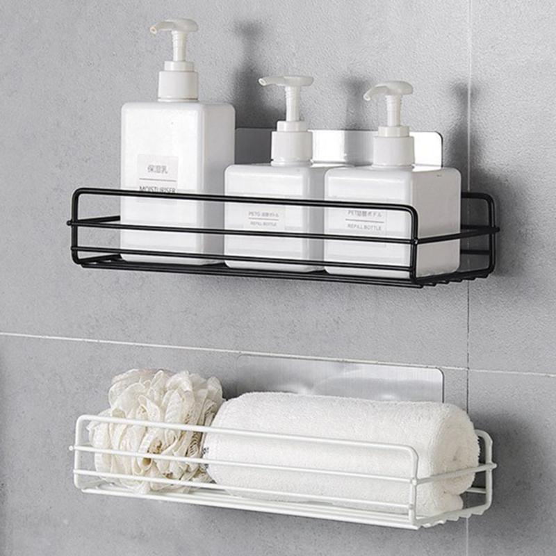Bathroom Storage Shelf & Rack Shampoo Shower Gel Floating Shelf Home Decoration Kitchen Accessories Free Punching Wall Hanging