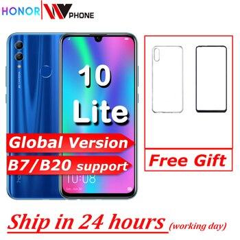Перейти на Алиэкспресс и купить Honor 10 Lite глобальная версия мобильного телефона 6,21 дюймов 3400 мАч Android 9 24MP камера смартфон с Google Play OTA обновление