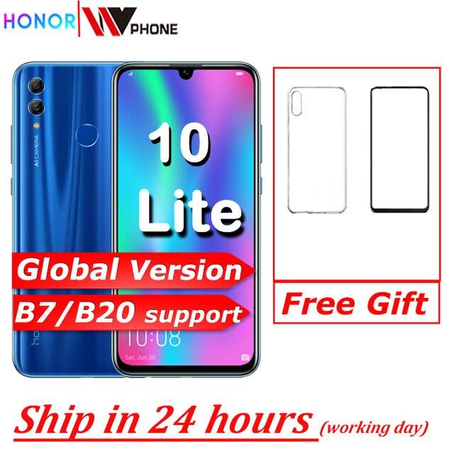 Honor 10 Lite Global Versie Mobilephone 6.21 Inch 3400Mah Android 9 24MP Camera Smartphone Met Google Play Ota Update