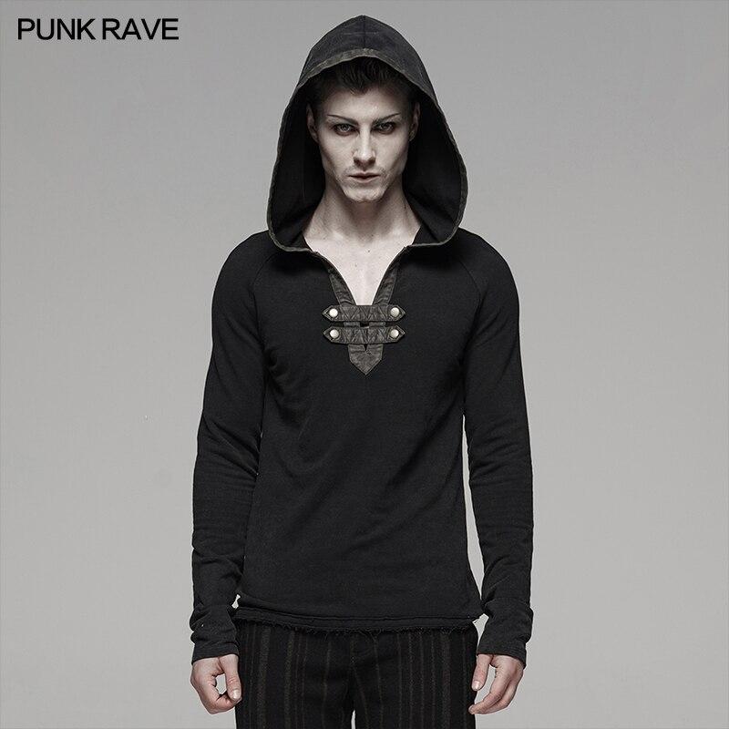 PUNK RAVE hommes Steam Punk Long sweat à capuche et manches longues T-shirt Rock personnalité décontracté hommes t-shirts hauts Streetwear T-shirt