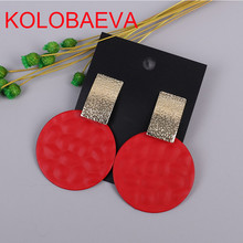 New round metal ladies earrings South Korea Bohemia statement pendant cute red pop fashion big Christmas Africa gold jewelry cc(China)
