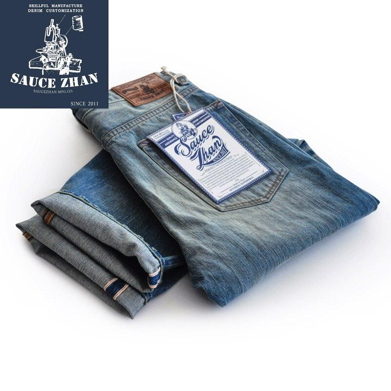 SauceZhan w stylu Vintage Jean krajki Jeans dżinsy surowe Denim męskie moda dżinsy indygo prosto wybielacza kamień mycia jeansy motocyklowe w Dżinsy od Odzież męska na  Grupa 1