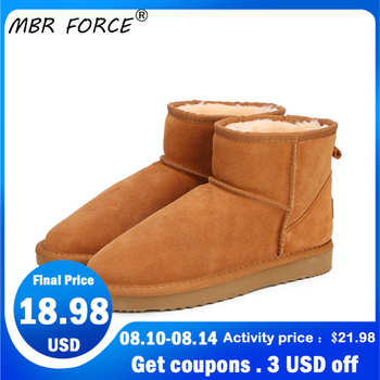 MBR FORCE Australia Women  Snow Boots 100% Genuine Cowhide Leather Ankle Boots Warm Winter Boots Woman shoes large size 34-44 shangmsh floral ankle boots for women winter genuine leather women s boots retro handmade comforable shoes footwear large size