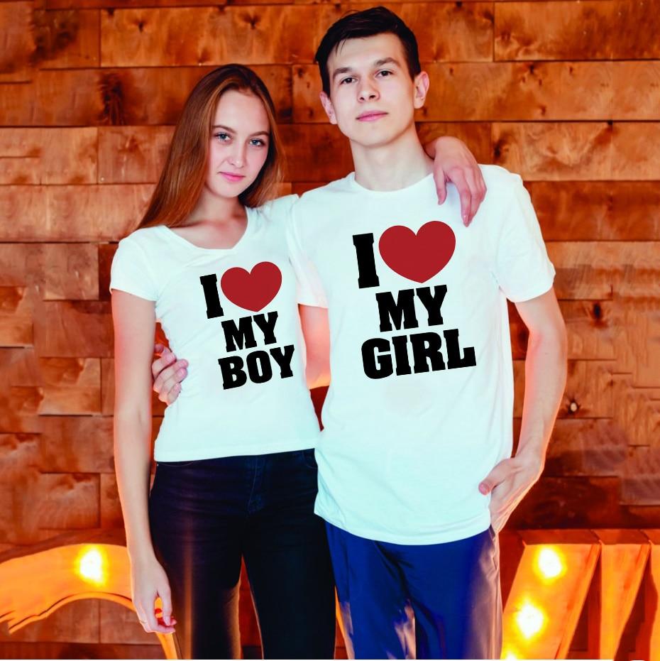 I Love My Girl I Love My Boy Couple Short Sleeves T Shirt Summer Top Chic Couple Clothes Harajuku Women Men Matching T-shirts