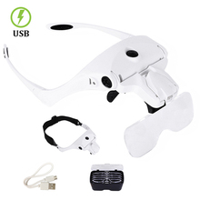 Magnifying Glass, Rechargable 5 Lens Loupe Eyewear Magnifier With Led Lights Lamp,Headband Glass For Reading