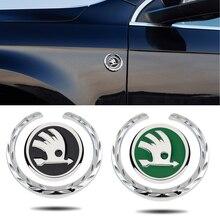 אוטומטי גוף חלון צד מדבקת סמל עבור סקודה לוגו 2 Kodiaq Yeti Karoq מעולה A7 סיור RS אוקטביה פאביה 1 מהיר אביזרי רכב