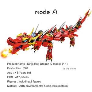 Image 2 - Ninja Series Kais Flying Red Ninja Dragon Fighting Mech Set 2in1 Set Figures Educational Building Blocks Toys For Children Gift