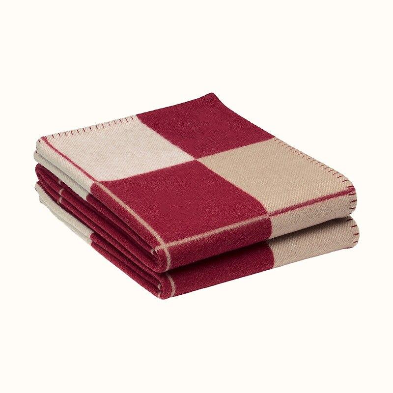 Brand Plaid H Cashmere Blanket Crochet Soft Wool Scarf Shawl Portable Warm Sofa Bed Fleece Knitted Throw Cape Blanket Pillowcase-5