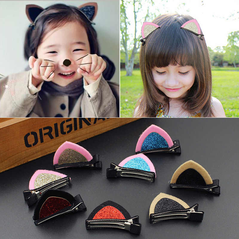 1PCS Neue Art Und Weise Nette Haar Clips Für Mädchen Haarnadeln Katze Ohr BB Grips Barrettes Cartoon Haar Ornament Kinder Haar zubehör
