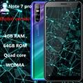 Hinweis 7 Pro smartphones 4G RAM 64G ROM quad core big screen 13mp Gesicht ID entsperrt android mobile handys billig celulares 3G WCDMA