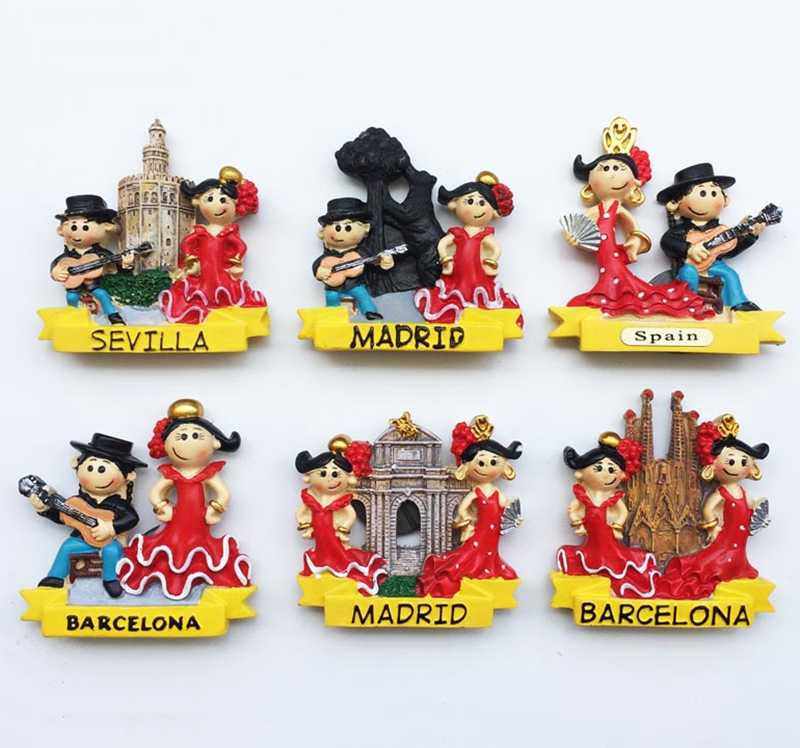 New Flamenco dance in Barcelona, Spain, Serbia 3D Fridge Magnet Travel Souvenir Refrigerator Magnetic Stickers Home Decor