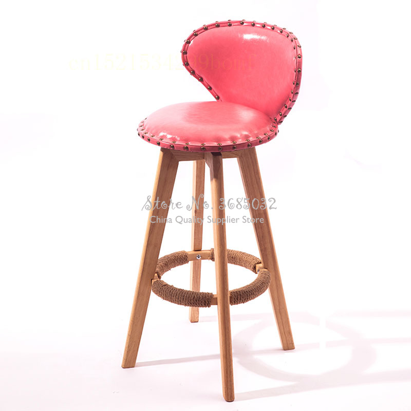 73cm Vintage Bar Stools Wooden Chairs Creative PU Back BarStools Home Simple High Stool Fashion Casual Dining Chair