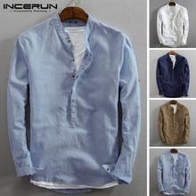 INCERUN Men Casual Shirt Cotton Linen Vintage Long Sleeve 20