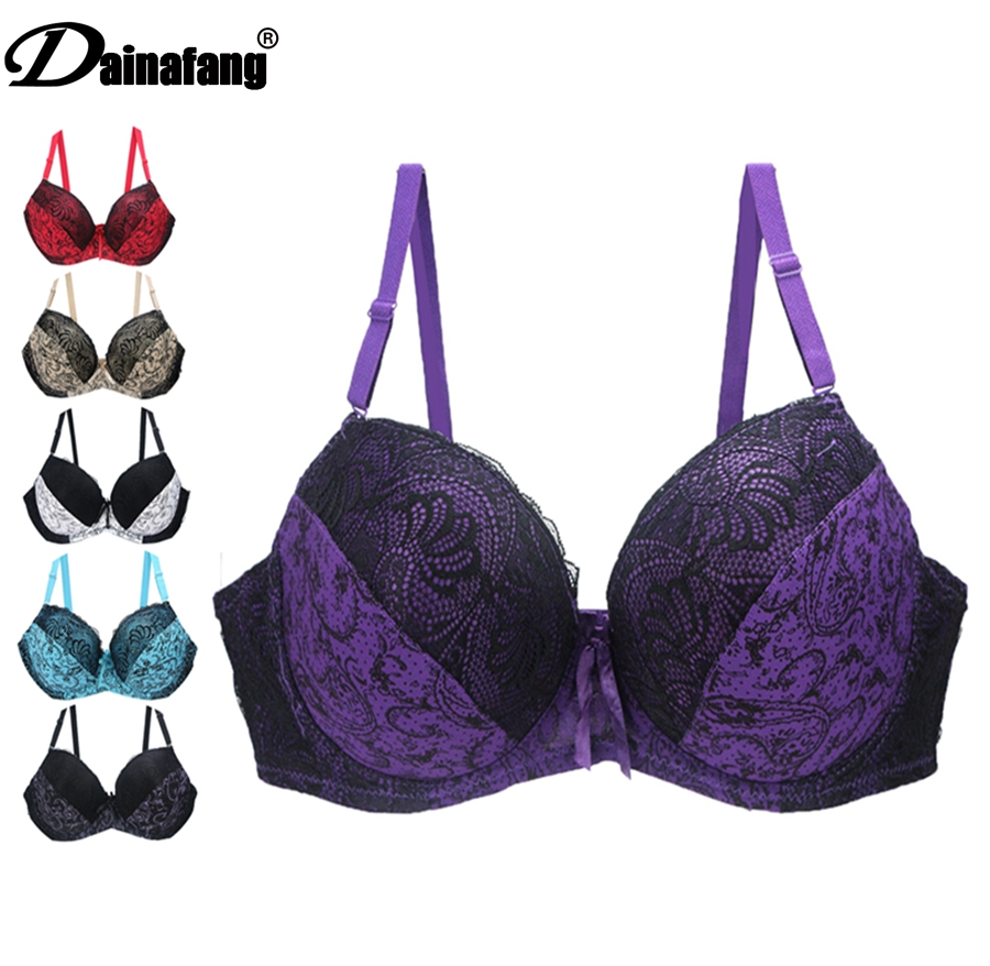 Sexy Women Push Up Bra Lace Plus Size Bra Brassiere Bralette Ultra-thin Large Cup Def Ef Female Underwire Lingerie