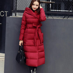 Down Cotton Jacket Women Coat Parkas Warm Thicken Long Jacket Female Plus Size Hooded Padded Coat Women Clothing Outerwear Q1789