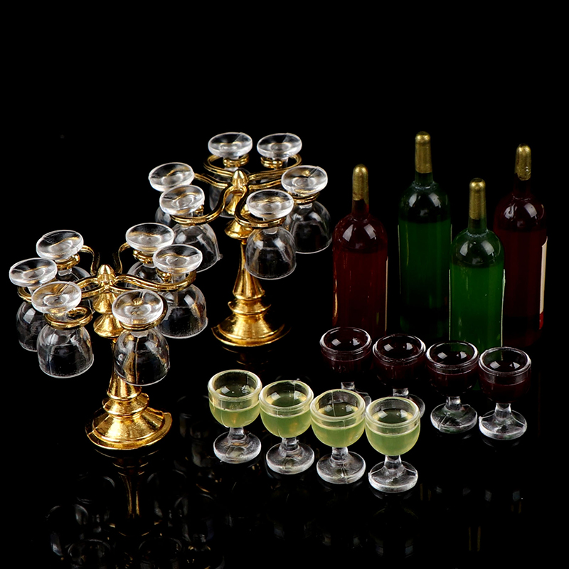 13pcs/set Wine Drink Bottles, Goblets, Beer Cups,Wine Bottles Cup Holder Dollhouse Miniature Pub Shop