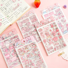 4 folhas/saco menina coração morango pêssego nuvem adesivo decorativo diy artesanato notebook computador decoração