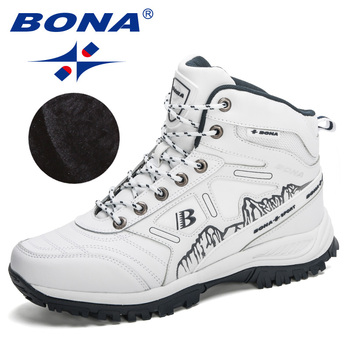 BONA 2020 New Arrival Hiking Shoes Action Leather Shoes Men Climbing & Fishing Shoes Man High Top Winter Plush Snow Boots Trendy 3