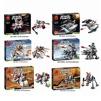 цена на Compatible Lepininglys Stars Wars Spaceship Microfighters Millennium AT-ST Fighters Building Blocks Set Model Toys for Children