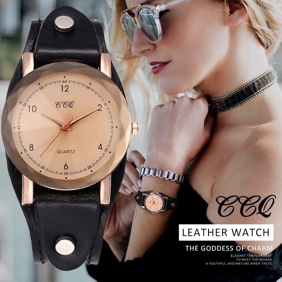 CCQ Brand Vintage Genuine Leather Bracelet Watch Women Men Casual Leather Quartz Wristwatches Clock Gift Montre Femme