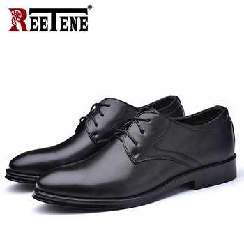 REETENE New Men Leather Shoes Business Men'S Dress Fashion Casual Wedding Comfortable Pointed Solid Color - discount item  48% OFF Men's Shoes