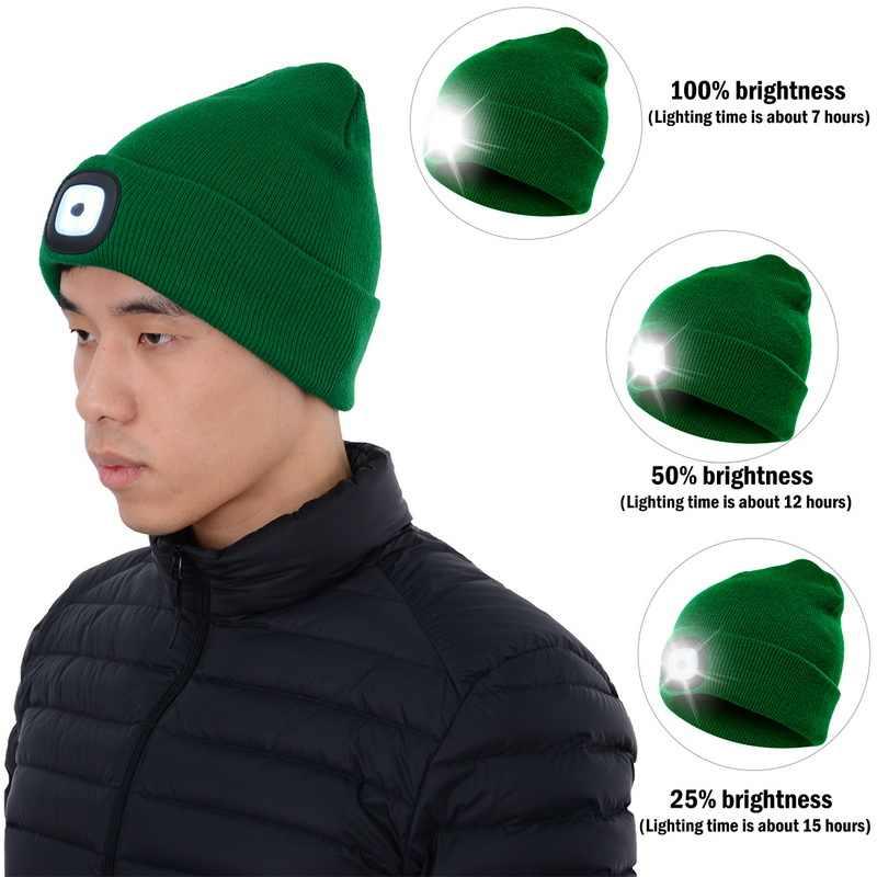 Winter Unisex Warmer Knit Cap Hat Button Battery LED Beanie Hatheadlights Gift