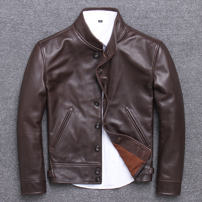Real Genuine Leather Jacket Men Cowhide Leather Coat Vintage Bomber Cow Leather Jackets Chaqueta Cuero Hombre U-1905 KJ3201
