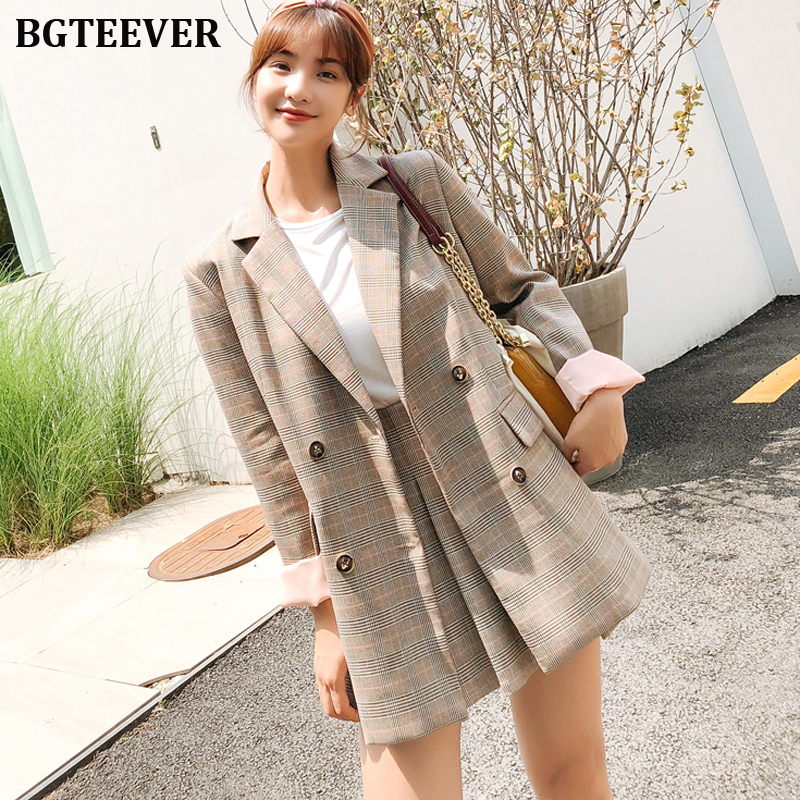 Elegant Two-piece Women Blazers Skirts Suit Autumn Casual Streetwear Plaid Female Pant Suit Chic Office Ladies Blazer Set Suits