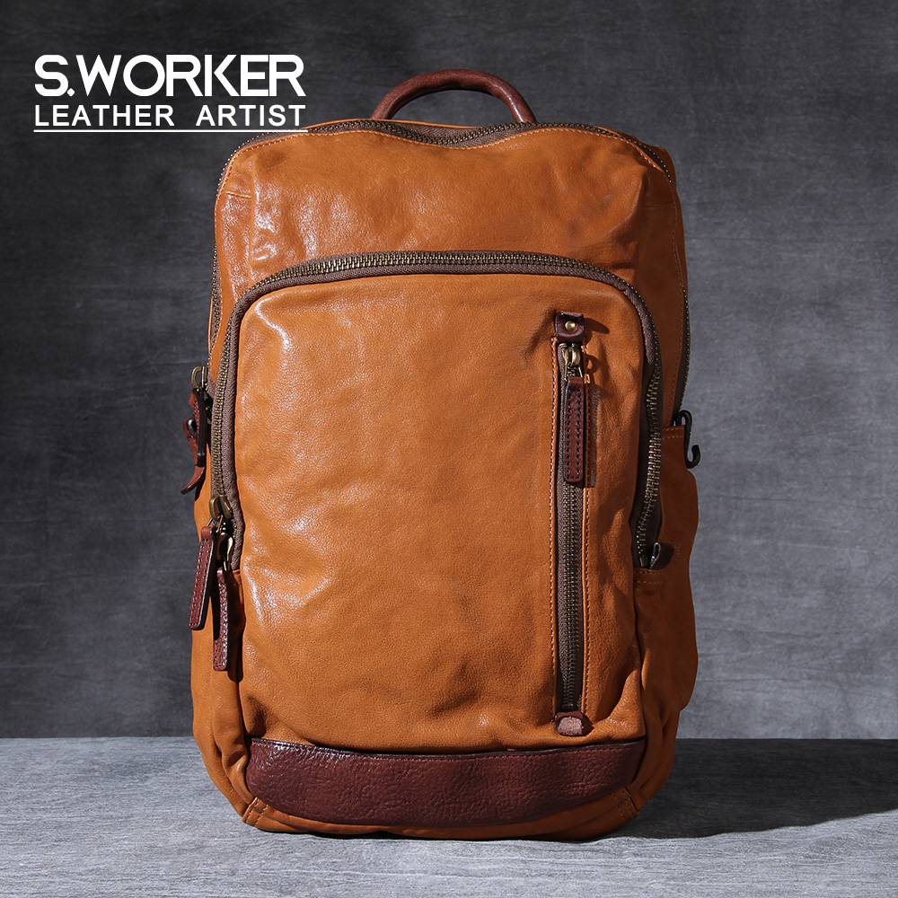 S.WORKER Casual Genuine Leather Backpack Men's Fashion Laptop Schoolbag Classic Vintage Style Minimalist Shoulder Bag