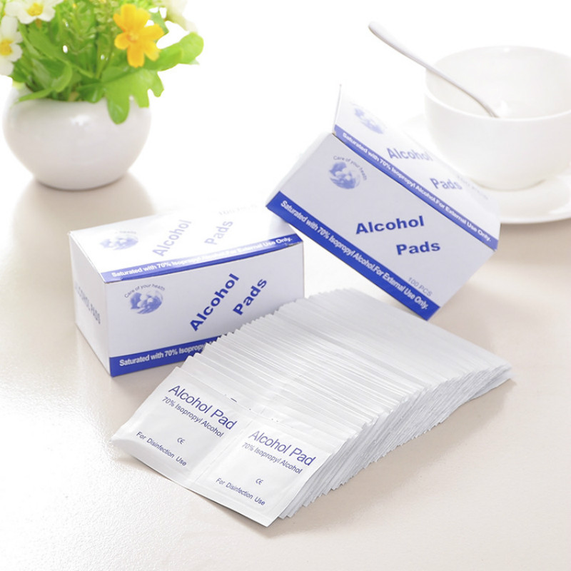 100pcs Alcohol Prep Swap Pad Wet Wipe Disposable Disinfection For Antiseptic Skin Cleaning Care Laptop Mobile Phone Clean Wipe