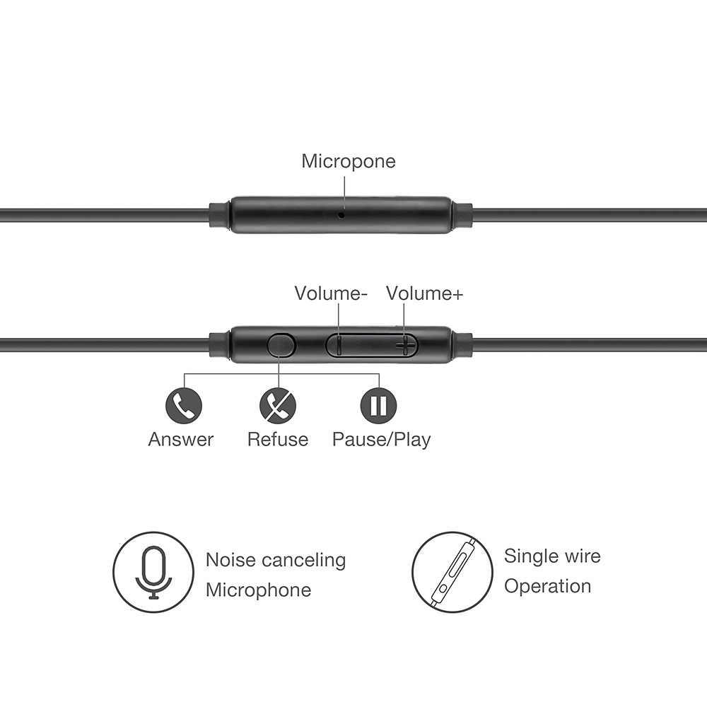 หูฟังแบบมีสาย 3.5 มม.สเตอริโอบลูทูธหูฟังชนิดใส่ในหูชุดหูฟัง Mi crophone สำหรับ Samsung Xiao Mi Mi 9 Huawei