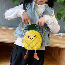 Children Girls Mini Shoulder Bag Cute Cartoon Pineapple Purse Handbag Kids Leather Crossbody Bags Gifts For Girls Bolso Mujer 20(China)