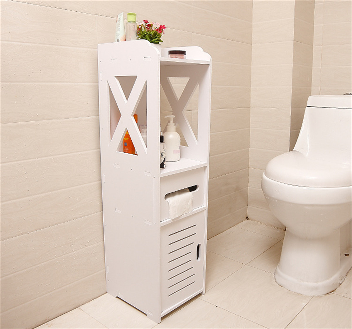 Support imperméable d'organisateur de plancher d'étagère de stockage de salle de bains d'armoire debout avec des tiroirs de tissu quatre couches Anti-corrosif WPC